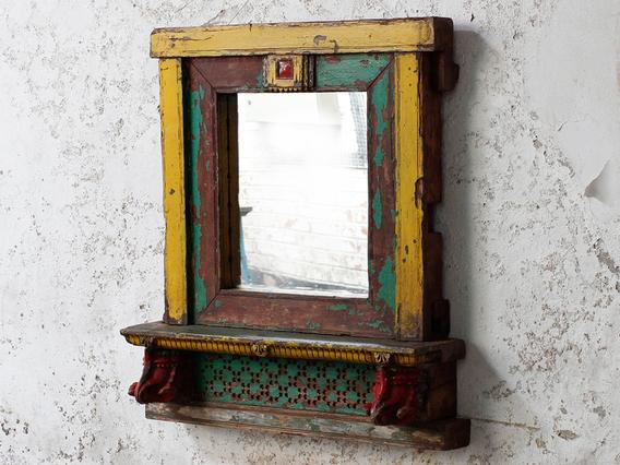 Rustic Yellow Wall Mirror