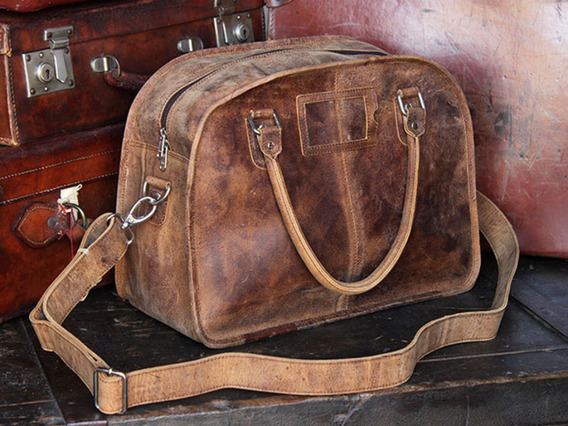 View our  Boys And Girls Vintage Leather Weekend Holdall Bag from the   collection