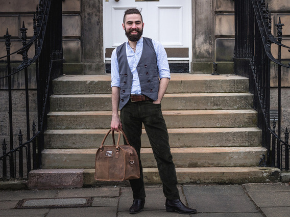 View our  Small Vintage Leather Travel Holdall Bag from the   collection
