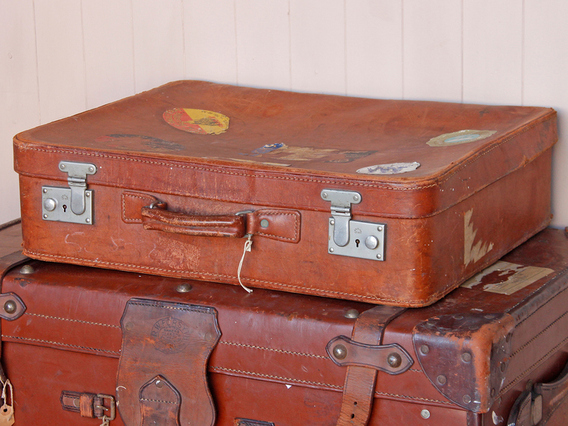 View our  Vintage Tan Leather Suitcase from the  Vintage Suitcases collection