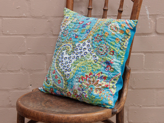 Teal Floral Handstitched Cushion Cover