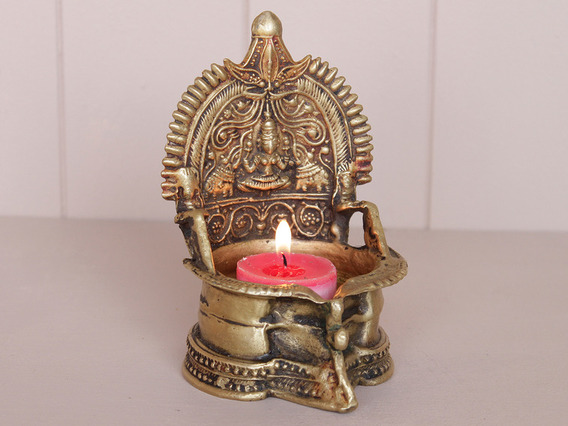 View our  Traditional Brass Laxmi Temple Lamp from the  Tableware collection