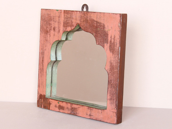 Upcycled Red Temple Mirror