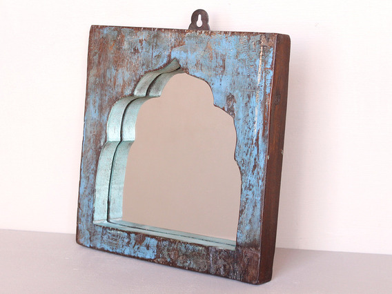 Upcycled Blue Vintage Wooden Temple Mirror