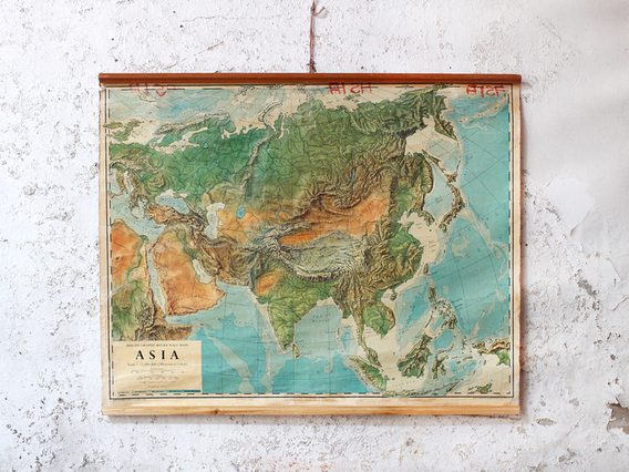 View our  Vintage Canvas Wall Map Of Asia from the   collection