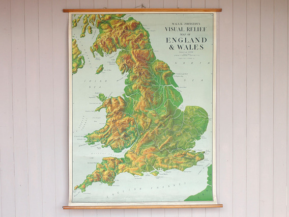 Vintage Canvas England and Wales Wall Map