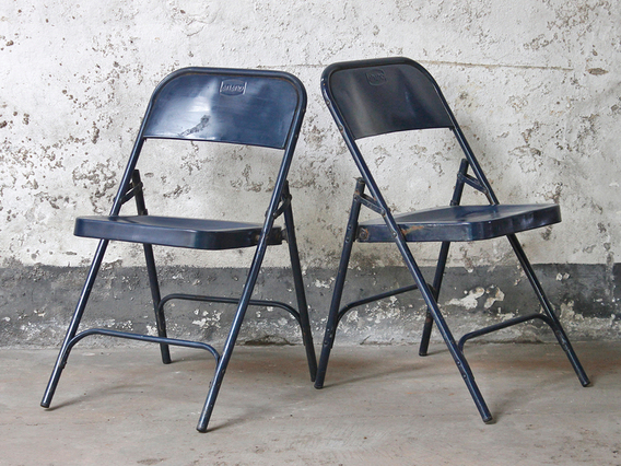 Vintage Metal Folding Chairs - Blue