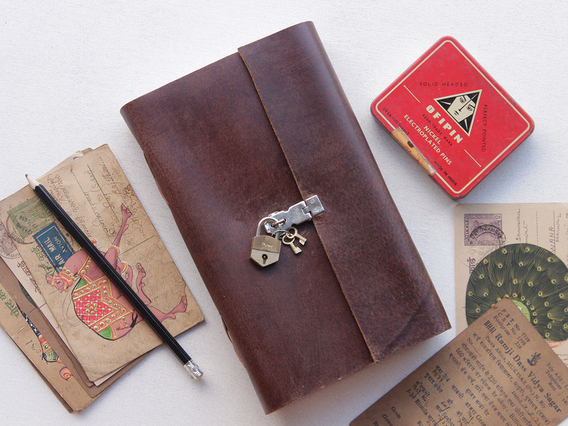Large Leather Notebook With Padlock