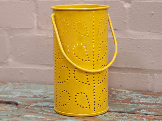 View our  Yellow Painted Lantern from the  Vintage Art  collection