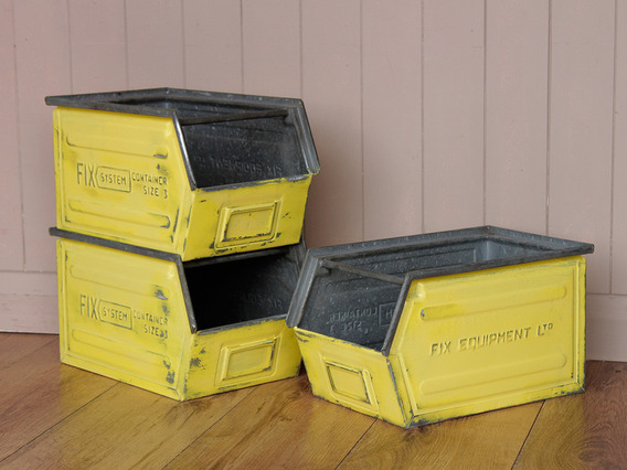 Stackable Industrial Tote Tins (set of 3)