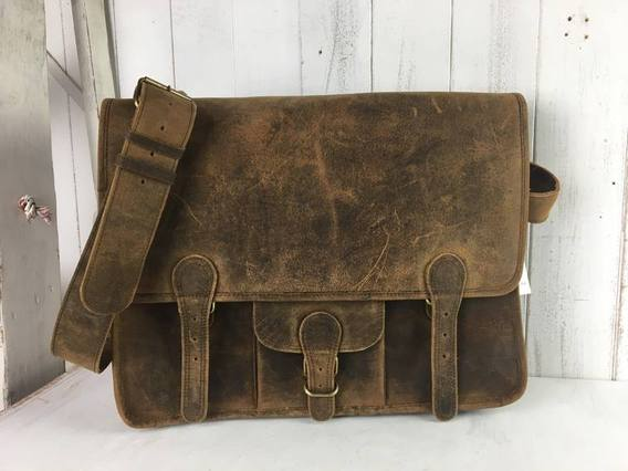 View our  SECONDS Large Vintage Satchel 16 Inch With Pocket from the  Sold collection