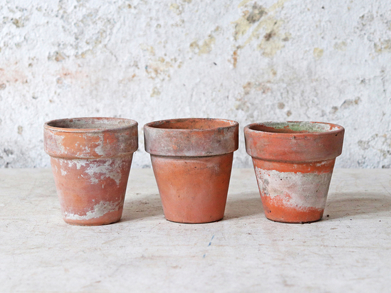 Old Terracotta Pots Small Set of 3