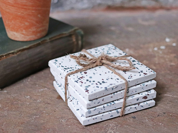 View our  Set of 4 White Terrazzo Coasters from the  Kitchen  collection