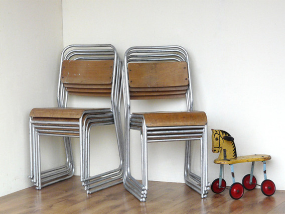 View our  Vintage Stacking Chairs (Pair of Silver) from the   collection