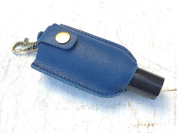 Hand Sanitiser Blue Leather Bottle Holder