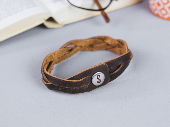 View our  Small Brown Leather Bracelet from the   collection