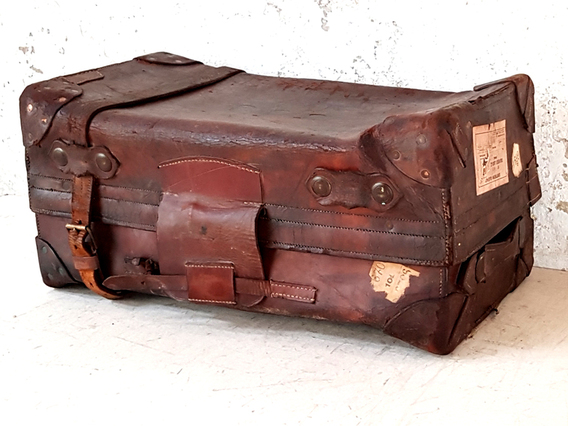 Small Leather Travel Trunk