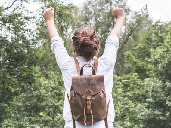 View our Women Small Leather And Canvas Backpack from the Women Leather Backpacks collection