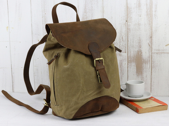 View our  Small Leather And Canvas Backpack from the  Gifts For Women collection
