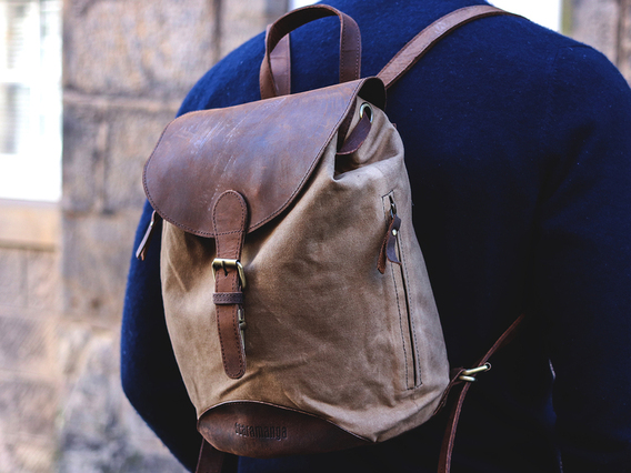 View our Men Small Leather and Canvas Backpack from the Men  collection