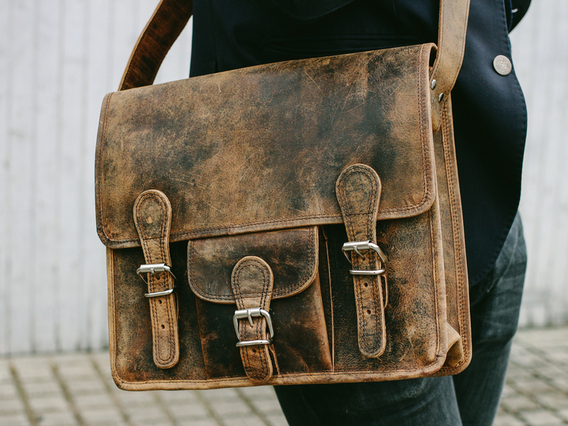 View our Men Small Leather Satchel With Front Pocket 13 Inch from the Men  collection