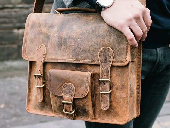 View our Men Small Leather Satchel With Front Pocket And Handle 13 Inch  from the Men  collection