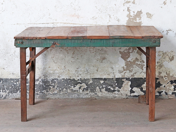 Small Wooden Folding Table - Painted Rim
