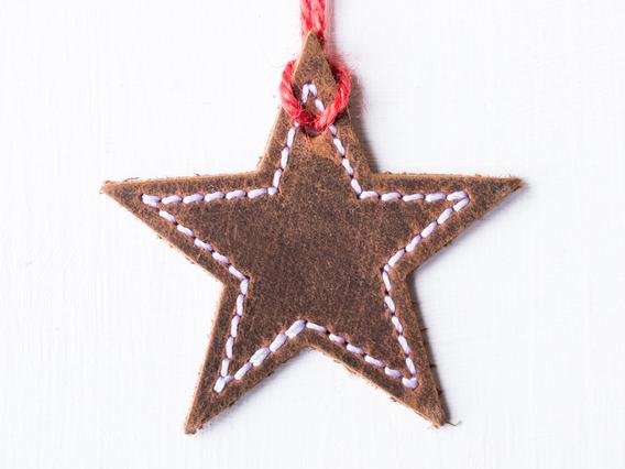 Leather Star Christmas Tree Decoration