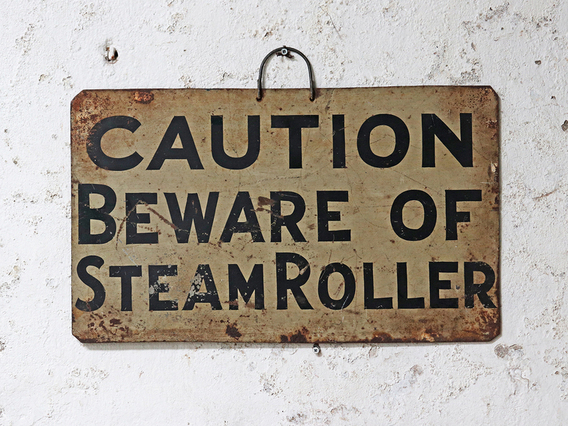 View our  Vintage Metal Steam Roller Sign from the  Sold collection