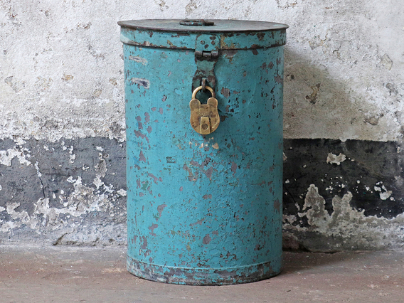 View our  Tall Vintage Blue Metal Tin from the  Sold collection