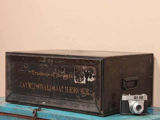 View our  Early Mid-Century Metal Deed Box from the   collection