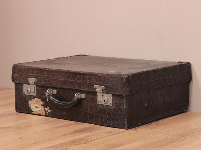 Vintage Crocodile Skin Travel Suitcase - Sold - Scaramanga
