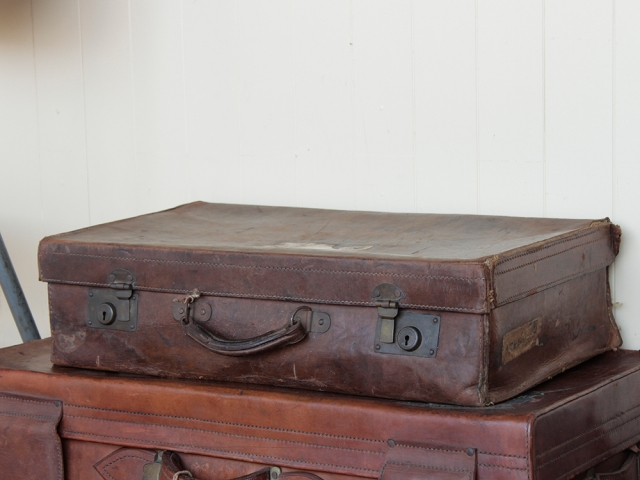 View our  Distressed Vintage Leather Suitcase from the   collection