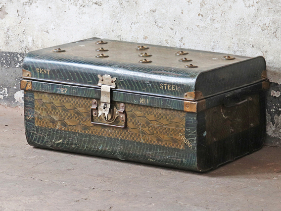 View our  Vintage Metal Travel Trunk from the  Old Travel Trunks collection