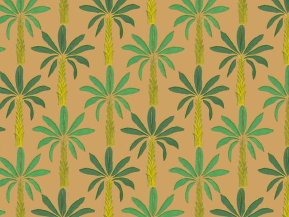 Tropical Wallpaper Sample: Gamboge Yellow-T1902GYS