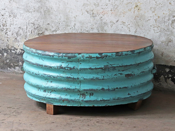 Upcycled Metal Coffee Table - Turquoise