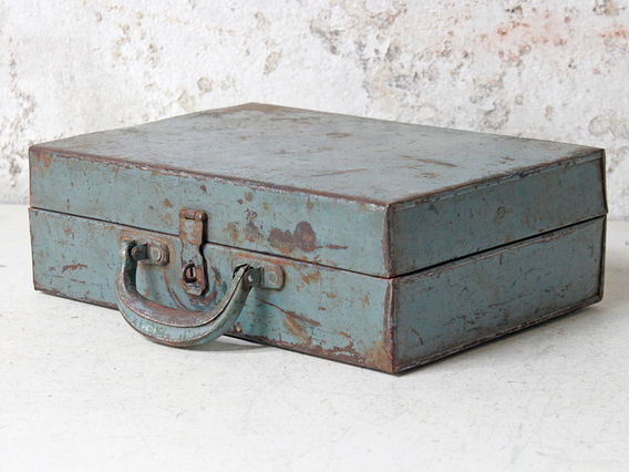 View our  Vintage Blue Metal Suitcase from the   collection
