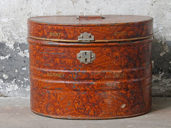 View our  Vintage Brown Hat Tin from the  Old Travel Trunks collection