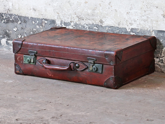 View our  Vintage Brown Leather Suitcase from the   collection