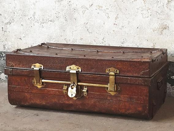 Vintage Metal Travel Suitcase