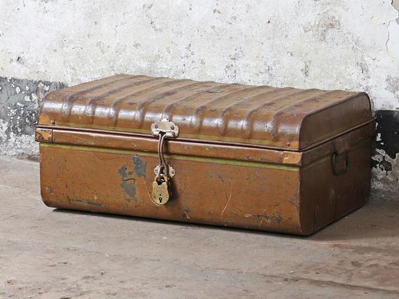 Brown Metal Travel Trunk
