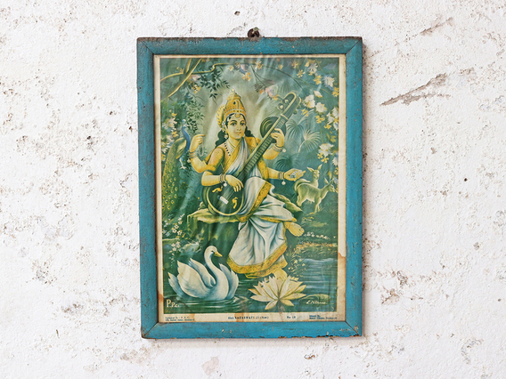 Vintage Indian Print - Saraswati