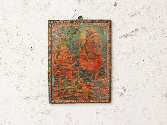 View our  Vintage Indian Print - Lakshmi & Ganesha from the  Furniture and Interiors collection