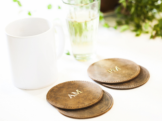 View our  Vintage Leather Coasters - Set of 4 from the   collection
