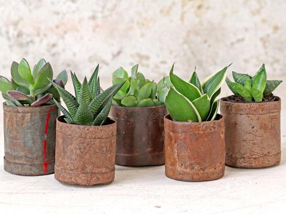 Vintage Metal Pots - Small (Set of 3)