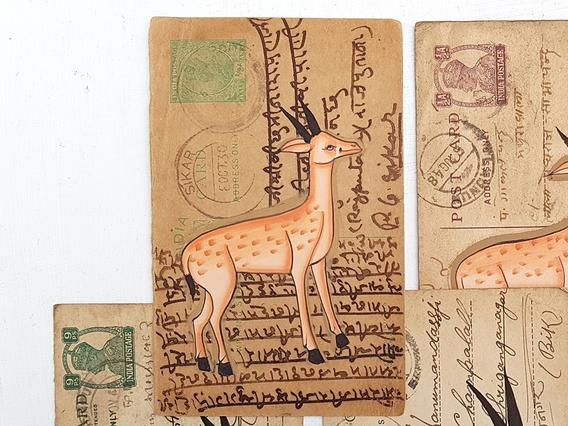 Vintage Postcard - Dashing Deer