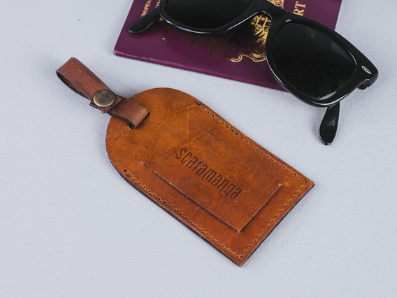 View our  Vintage Tan Leather Luggage Tag from the  Travel Accessories collection