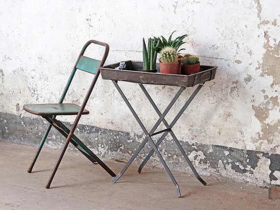 Upcycled Vintage Ship-Tray Stand