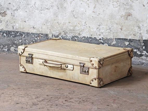 Large Vintage Vellum Suitcase