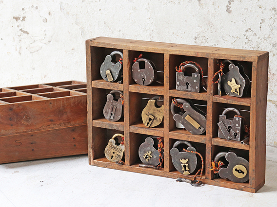 Vintage Wooden Box With 12 Compartments